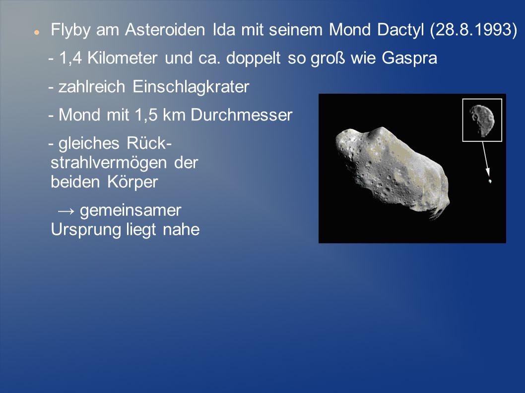 Flyby am Asteroiden Ida mit seinem Mond Dactyl (28.8.1993) - 1,4 Kilometer und ca. doppelt so groß wie Gaspra - zahlreich Einschlagkrater - Mond mit 1