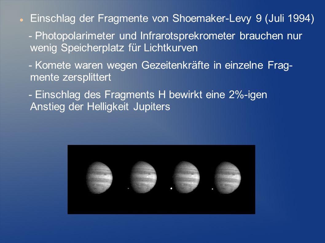 Einschlag der Fragmente von Shoemaker-Levy 9 (Juli 1994) - Photopolarimeter und Infrarotsprekrometer brauchen nur wenig Speicherplatz für Lichtkurven