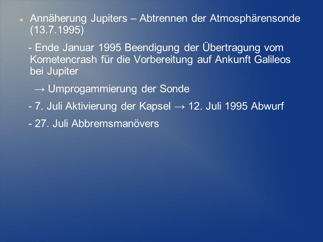 Annäherung Jupiters – Abtrennen der Atmosphärensonde (13.7.1995) - Ende Januar 1995 Beendigung der Übertragung vom Kometencrash für die Vorbereitung a