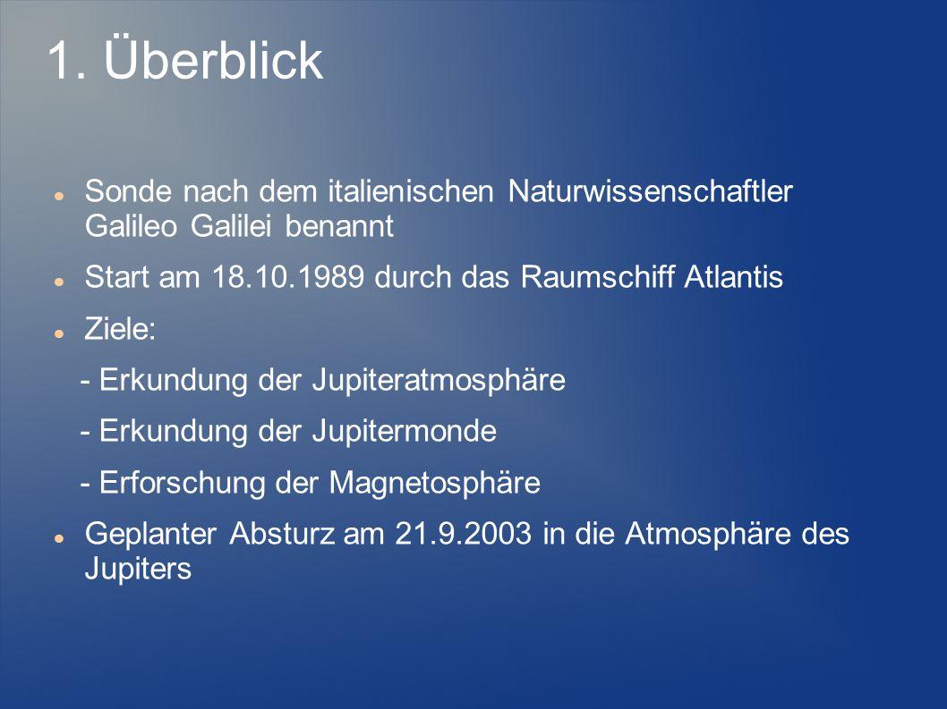1. Überblick Sonde nach dem italienischen Naturwissenschaftler Galileo Galilei benannt Start am 18.10.1989 durch das Raumschiff Atlantis Ziele: - Erku