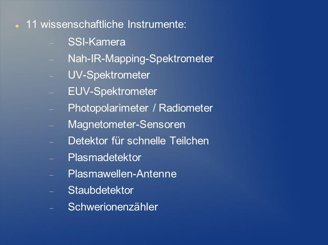 11 wissenschaftliche Instrumente:  SSI-Kamera  Nah-IR-Mapping-Spektrometer  UV-Spektrometer  EUV-Spektrometer  Photopolarimeter / Radiometer  Ma