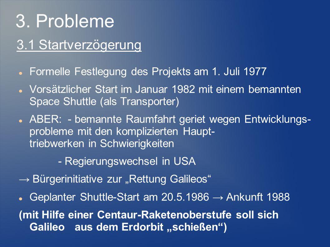 Formelle Festlegung des Projekts am 1. Juli 1977 Vorsätzlicher Start im Januar 1982 mit einem bemannten Space Shuttle (als Transporter) ABER: - bemann