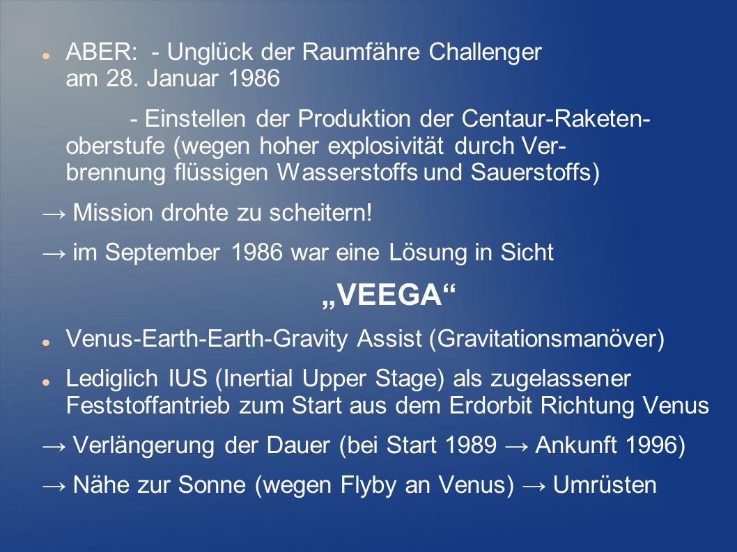 ABER: - Unglück der Raumfähre Challenger am 28. Januar 1986 - Einstellen der Produktion der Centaur-Raketen- oberstufe (wegen hoher explosivität durch