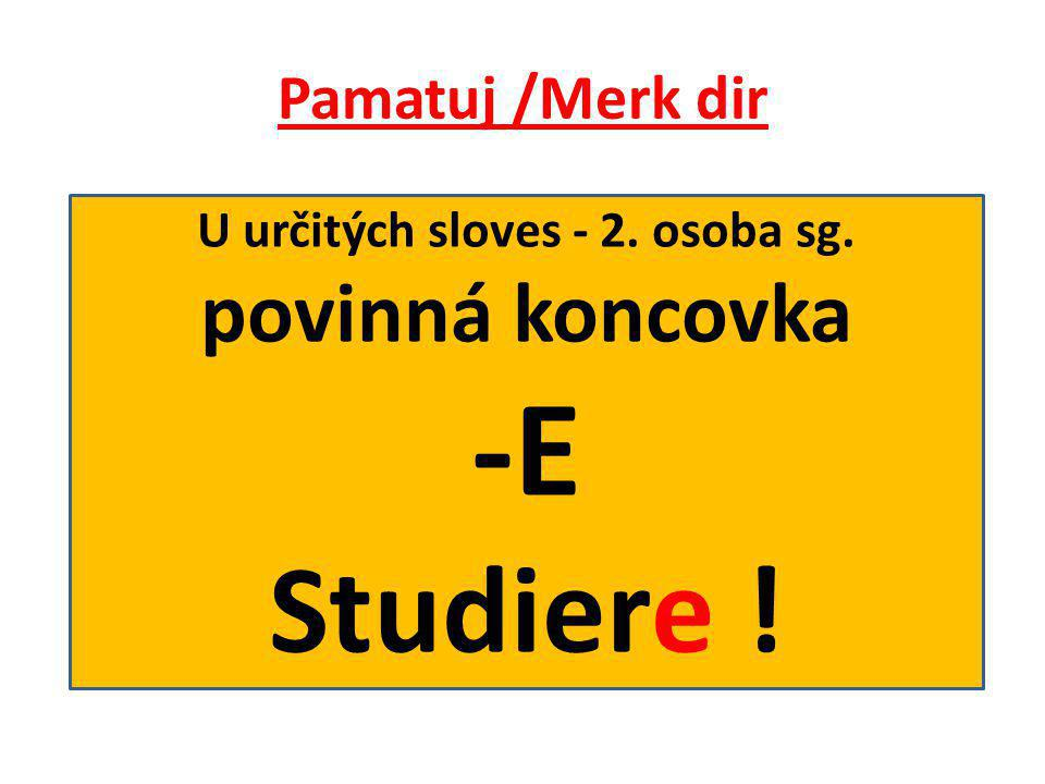 Pamatuj /Merk dir U určitých sloves - 2. osoba sg. povinná koncovka -E Studiere !
