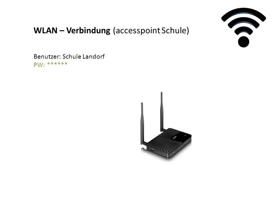 WLAN – Verbindung (accesspoint Schule) Benutzer: Schule Landorf PW: ******