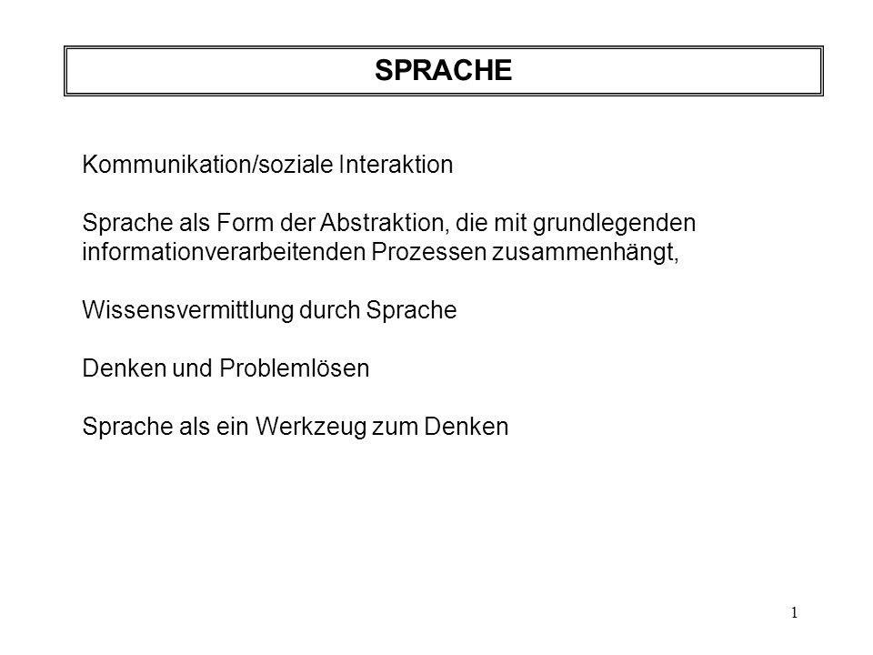 2 Sprachpsychologie (oft auch Psycholinguistik ): Hauptbereich: Sprachrezeption (gesprochene - geschriebene Sprache) Sprachproduktion Zusammenspiel von Sprachverstehen und -produktion in der Kommunikation.