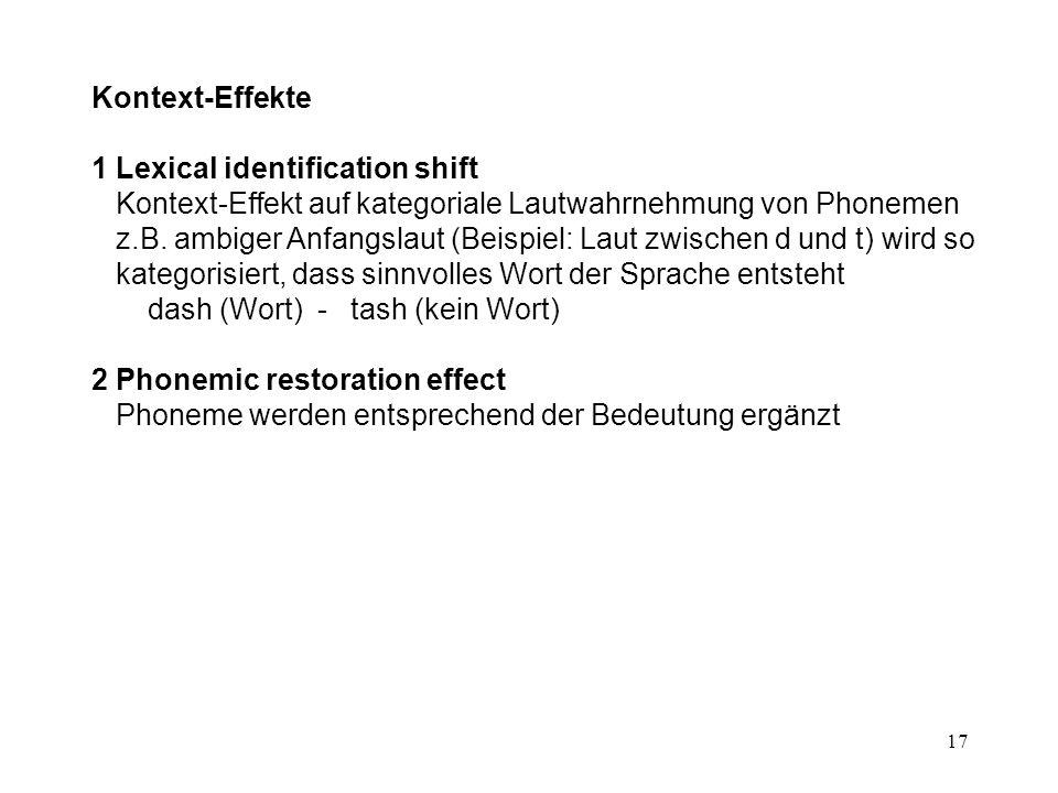 17 Kontext-Effekte 1 Lexical identification shift Kontext-Effekt auf kategoriale Lautwahrnehmung von Phonemen z.B.