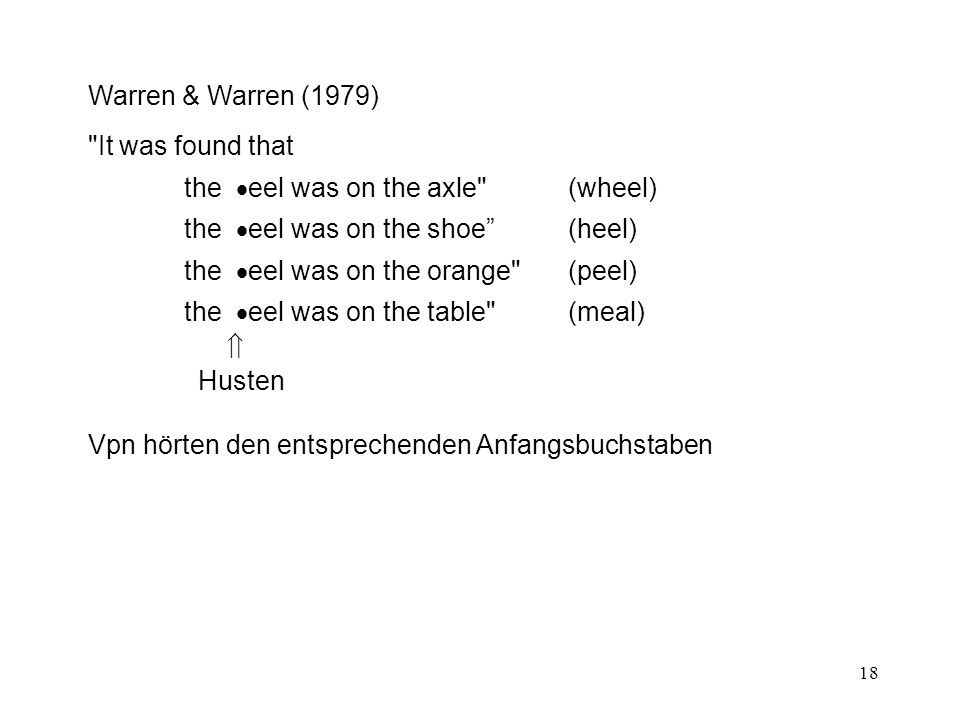 18 Warren & Warren (1979) It was found that the  eel was on the axle (wheel) the  eel was on the shoe (heel) the  eel was on the orange (peel) the  eel was on the table (meal)  Husten Vpn hörten den entsprechenden Anfangsbuchstaben