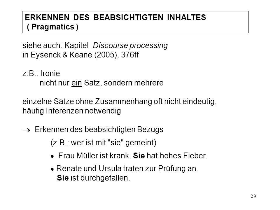 29 ERKENNEN DES BEABSICHTIGTEN INHALTES ( Pragmatics ) siehe auch: Kapitel Discourse processing in Eysenck & Keane (2005), 376ff z.B.: Ironie nicht nur ein Satz, sondern mehrere einzelne Sätze ohne Zusammenhang oft nicht eindeutig, häufig Inferenzen notwendig  Erkennen des beabsichtigten Bezugs (z.B.: wer ist mit sie gemeint)  Frau Müller ist krank.