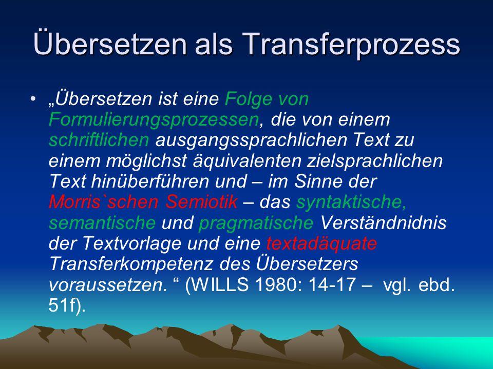 """Übersetzen als Transferprozess """"Übersetzen ist eine Folge von Formulierungsprozessen, die von einem schriftlichen ausgangssprachlichen Text zu einem m"""
