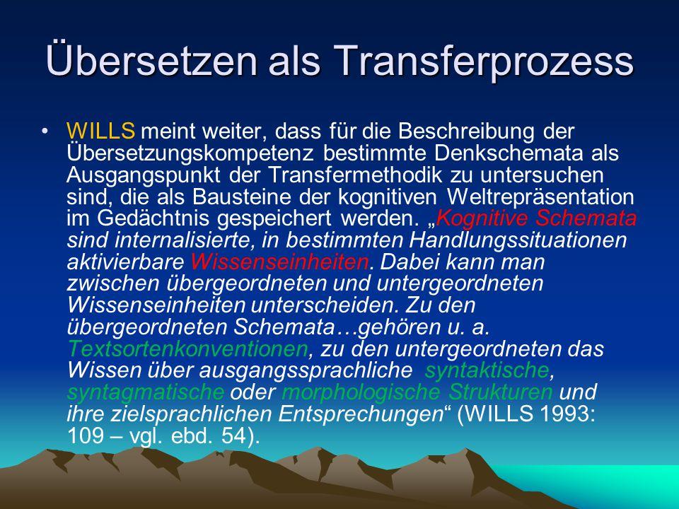 Übersetzen als Transferprozess WILLS meint weiter, dass für die Beschreibung der Übersetzungskompetenz bestimmte Denkschemata als Ausgangspunkt der Tr