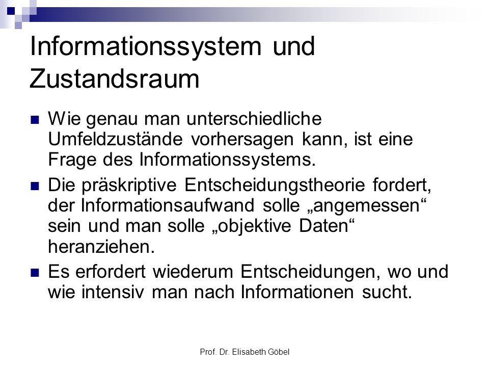 Prof. Dr. Elisabeth Göbel Informationssystem und Zustandsraum Wie genau man unterschiedliche Umfeldzustände vorhersagen kann, ist eine Frage des Infor