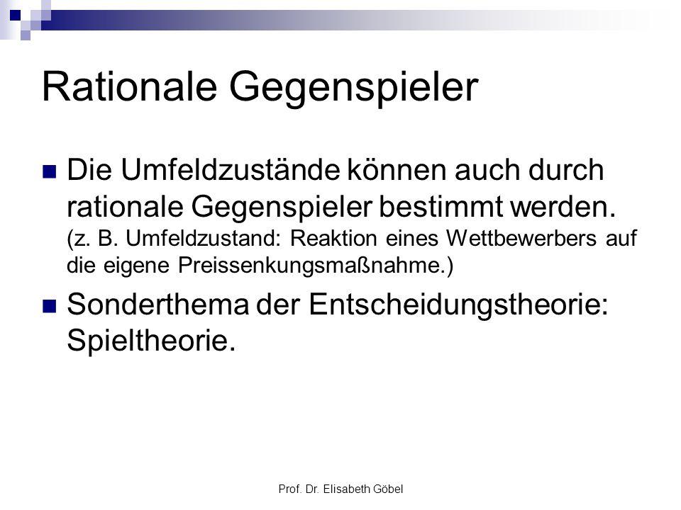Prof. Dr. Elisabeth Göbel Rationale Gegenspieler Die Umfeldzustände können auch durch rationale Gegenspieler bestimmt werden. (z. B. Umfeldzustand: Re