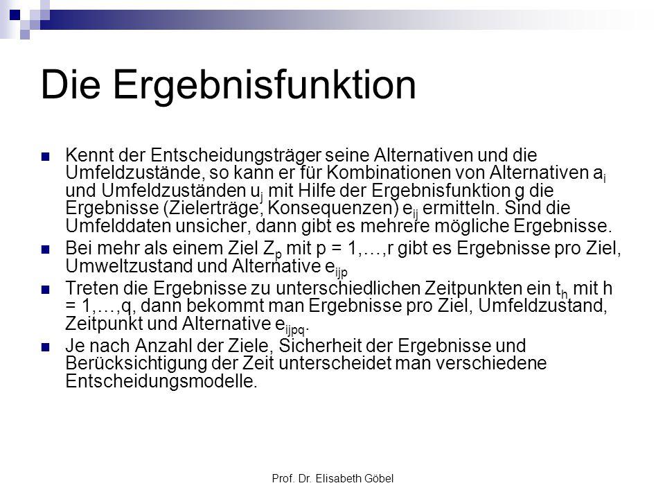 Prof. Dr. Elisabeth Göbel Die Ergebnisfunktion Kennt der Entscheidungsträger seine Alternativen und die Umfeldzustände, so kann er für Kombinationen v
