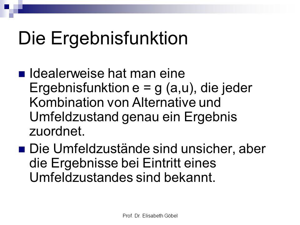 Prof. Dr. Elisabeth Göbel Die Ergebnisfunktion Idealerweise hat man eine Ergebnisfunktion e = g (a,u), die jeder Kombination von Alternative und Umfel