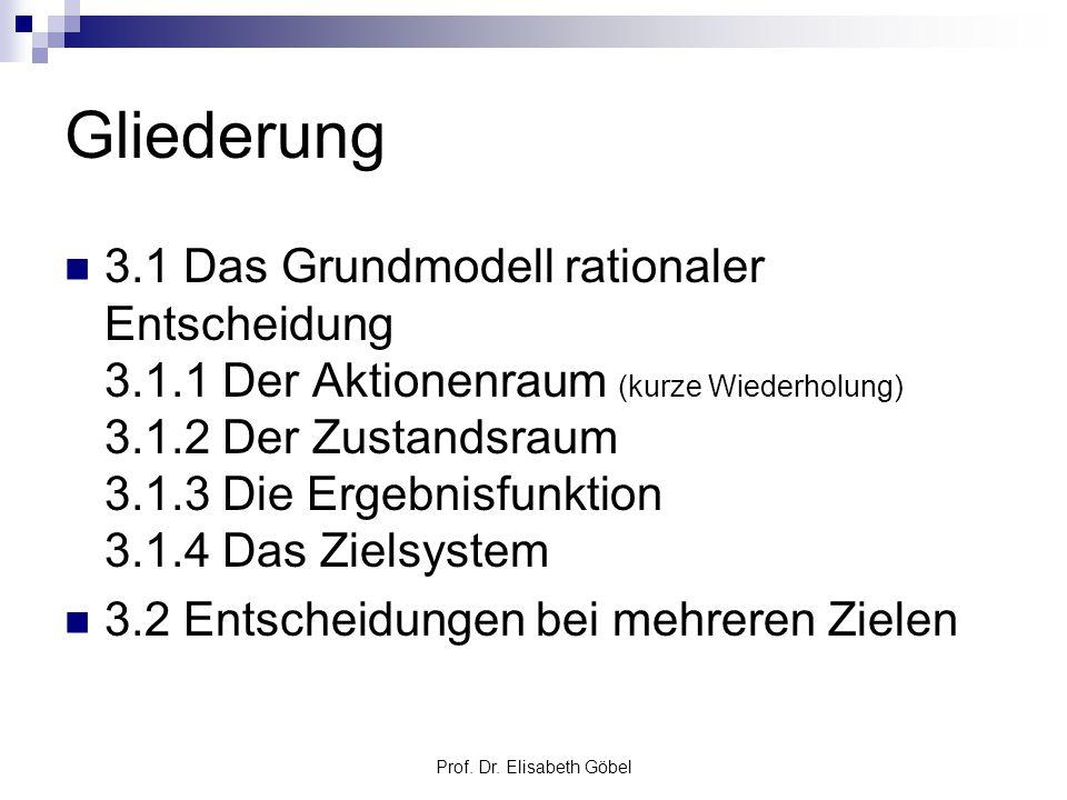 Prof. Dr. Elisabeth Göbel Gliederung 3.1 Das Grundmodell rationaler Entscheidung 3.1.1 Der Aktionenraum (kurze Wiederholung) 3.1.2 Der Zustandsraum 3.