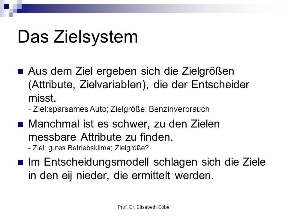 Prof. Dr. Elisabeth Göbel Das Zielsystem Aus dem Ziel ergeben sich die Zielgrößen (Attribute, Zielvariablen), die der Entscheider misst. - Ziel:sparsa