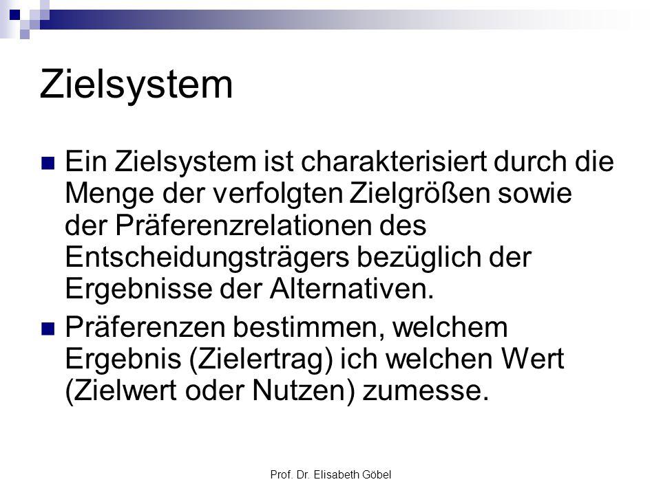 Prof. Dr. Elisabeth Göbel Zielsystem Ein Zielsystem ist charakterisiert durch die Menge der verfolgten Zielgrößen sowie der Präferenzrelationen des En