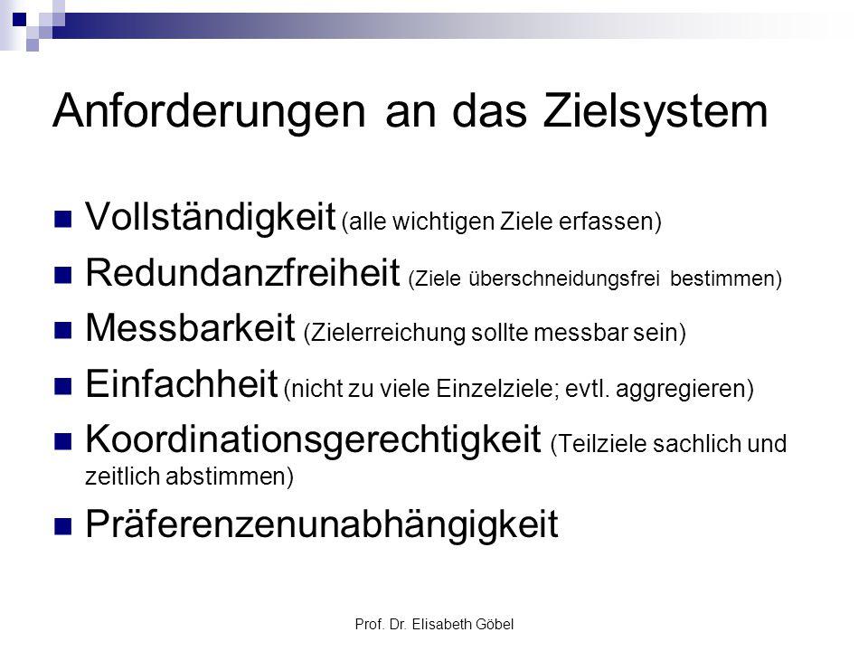 Prof. Dr. Elisabeth Göbel Anforderungen an das Zielsystem Vollständigkeit (alle wichtigen Ziele erfassen) Redundanzfreiheit (Ziele überschneidungsfrei