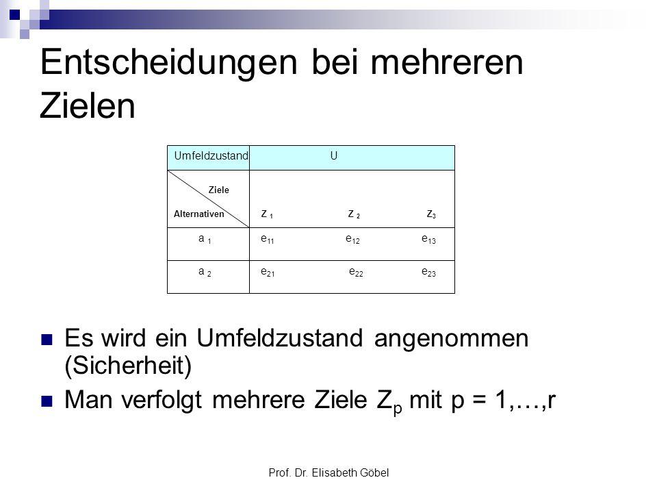 Prof. Dr. Elisabeth Göbel Entscheidungen bei mehreren Zielen Es wird ein Umfeldzustand angenommen (Sicherheit) Man verfolgt mehrere Ziele Z p mit p =
