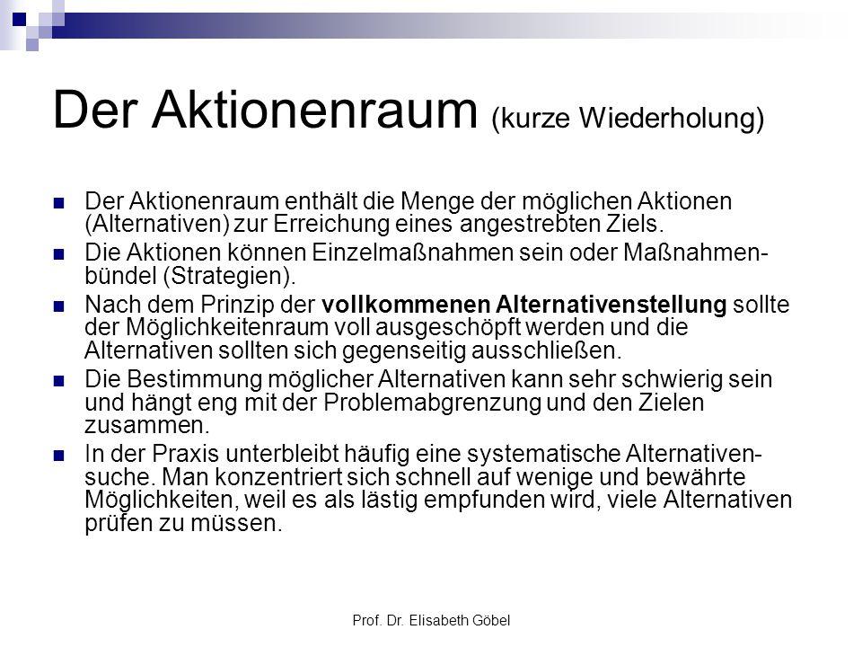 Prof. Dr. Elisabeth Göbel Der Aktionenraum (kurze Wiederholung) Der Aktionenraum enthält die Menge der möglichen Aktionen (Alternativen) zur Erreichun