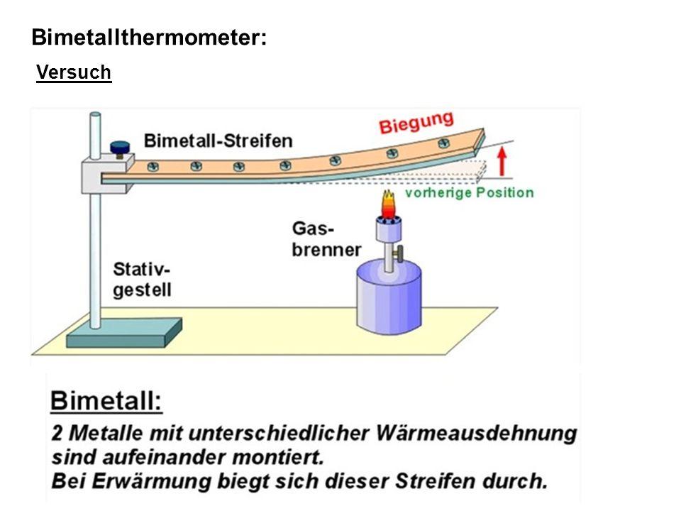 Bimetallthermometer: Versuch