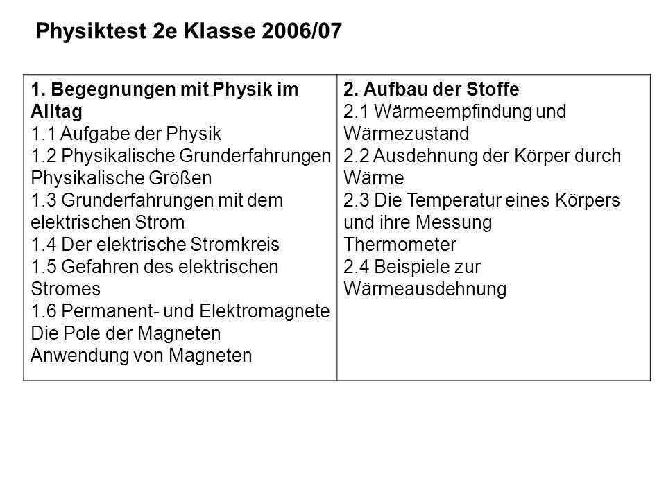 Physiktest 2e Klasse 2006/07 1. Begegnungen mit Physik im Alltag 1.1 Aufgabe der Physik 1.2 Physikalische Grunderfahrungen Physikalische Größen 1.3 Gr