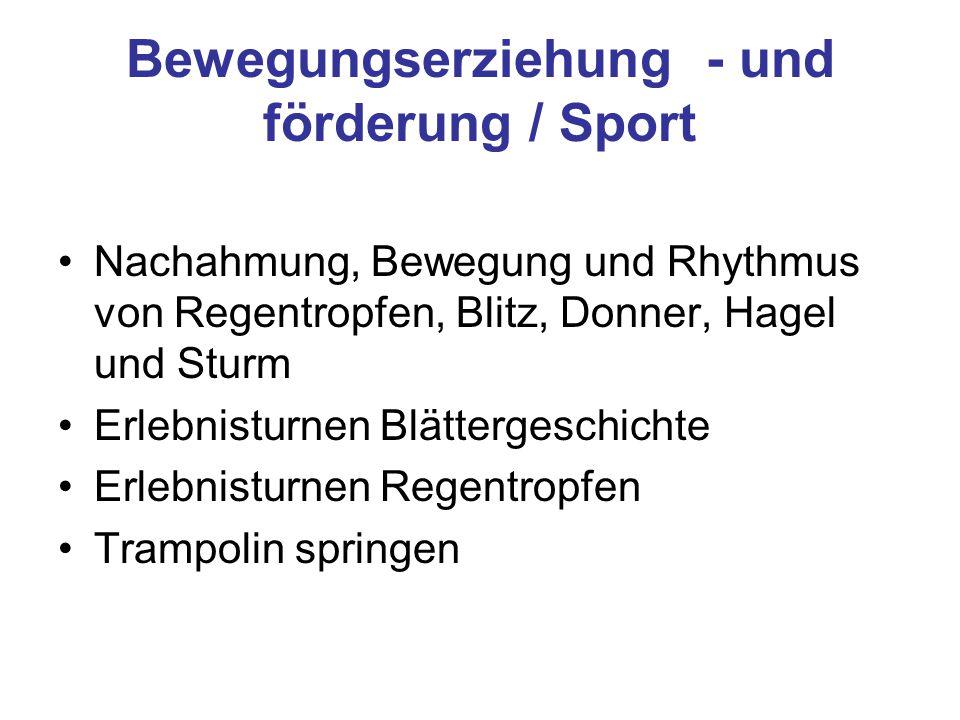 Bewegungserziehung - und förderung / Sport Nachahmung, Bewegung und Rhythmus von Regentropfen, Blitz, Donner, Hagel und Sturm Erlebnisturnen Blätterge