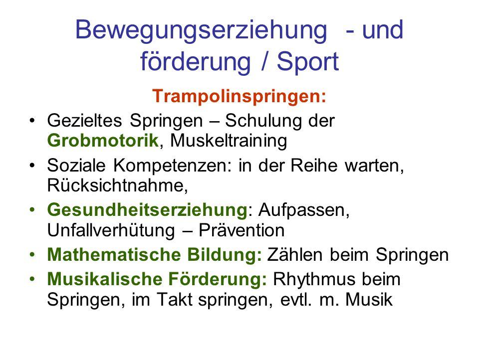 Bewegungserziehung - und förderung / Sport Trampolinspringen: Gezieltes Springen – Schulung der Grobmotorik, Muskeltraining Soziale Kompetenzen: in de