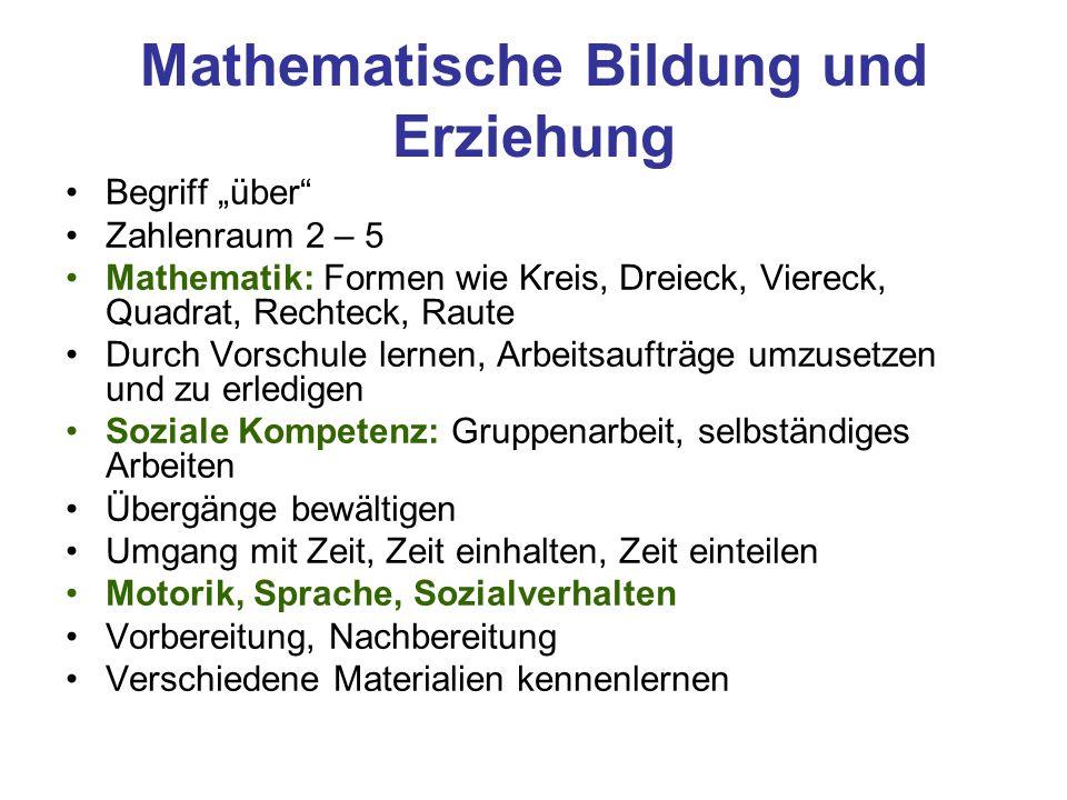 """Mathematische Bildung und Erziehung Begriff """"über"""" Zahlenraum 2 – 5 Mathematik: Formen wie Kreis, Dreieck, Viereck, Quadrat, Rechteck, Raute Durch Vor"""