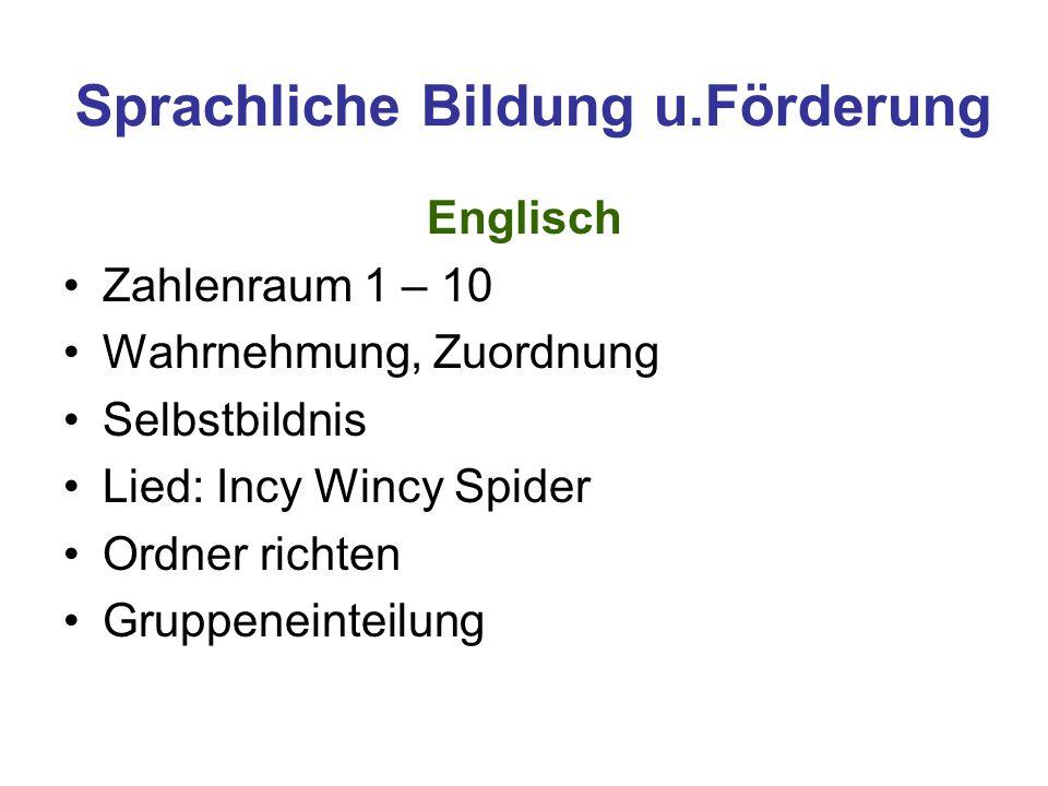 Sprachliche Bildung u.Förderung Englisch Zahlenraum 1 – 10 Wahrnehmung, Zuordnung Selbstbildnis Lied: Incy Wincy Spider Ordner richten Gruppeneinteilu