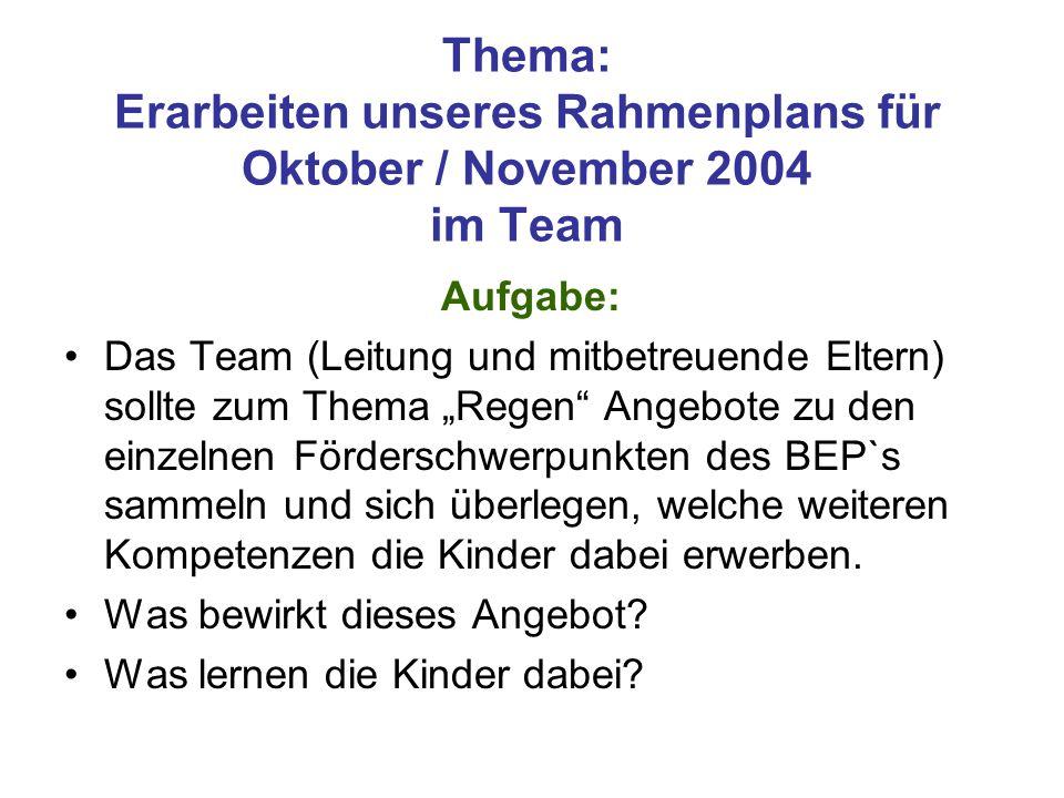 """Thema: Erarbeiten unseres Rahmenplans für Oktober / November 2004 im Team Aufgabe: Das Team (Leitung und mitbetreuende Eltern) sollte zum Thema """"Regen"""