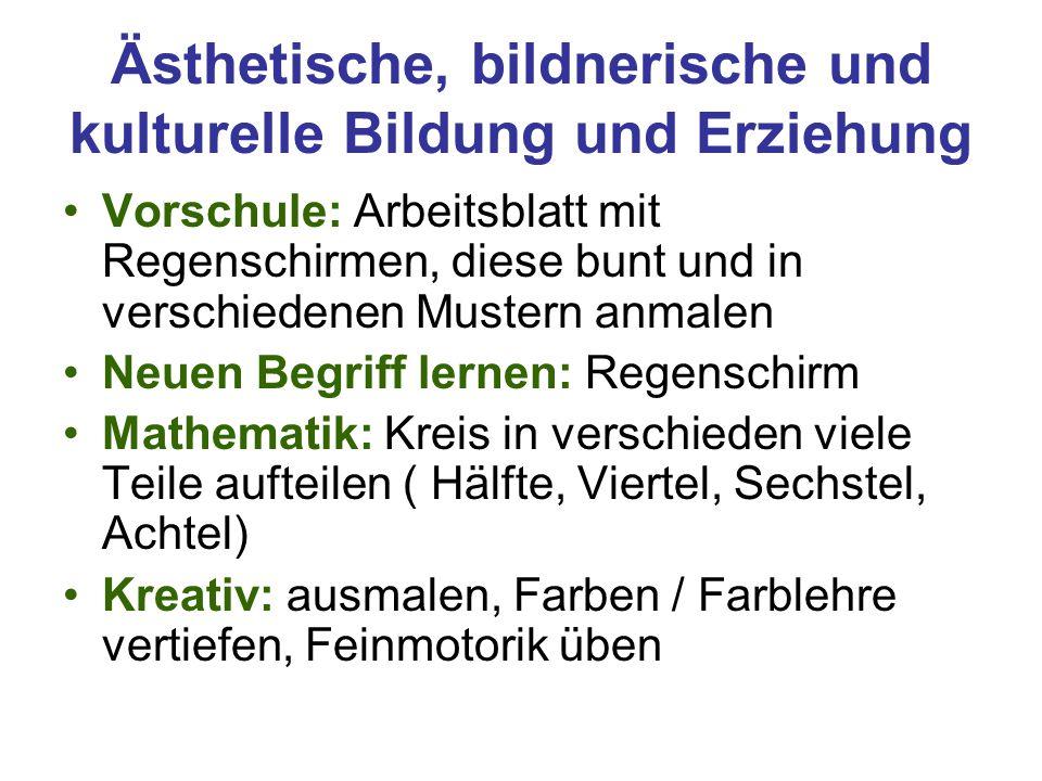 Ästhetische, bildnerische und kulturelle Bildung und Erziehung Vorschule: Arbeitsblatt mit Regenschirmen, diese bunt und in verschiedenen Mustern anma