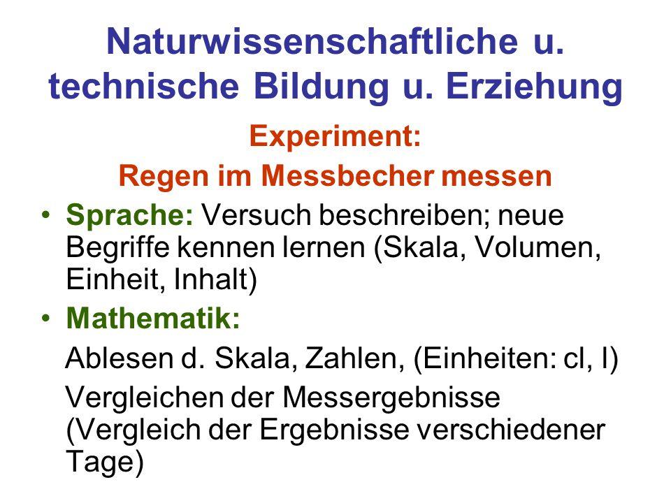 Naturwissenschaftliche u. technische Bildung u. Erziehung Experiment: Regen im Messbecher messen Sprache: Versuch beschreiben; neue Begriffe kennen le