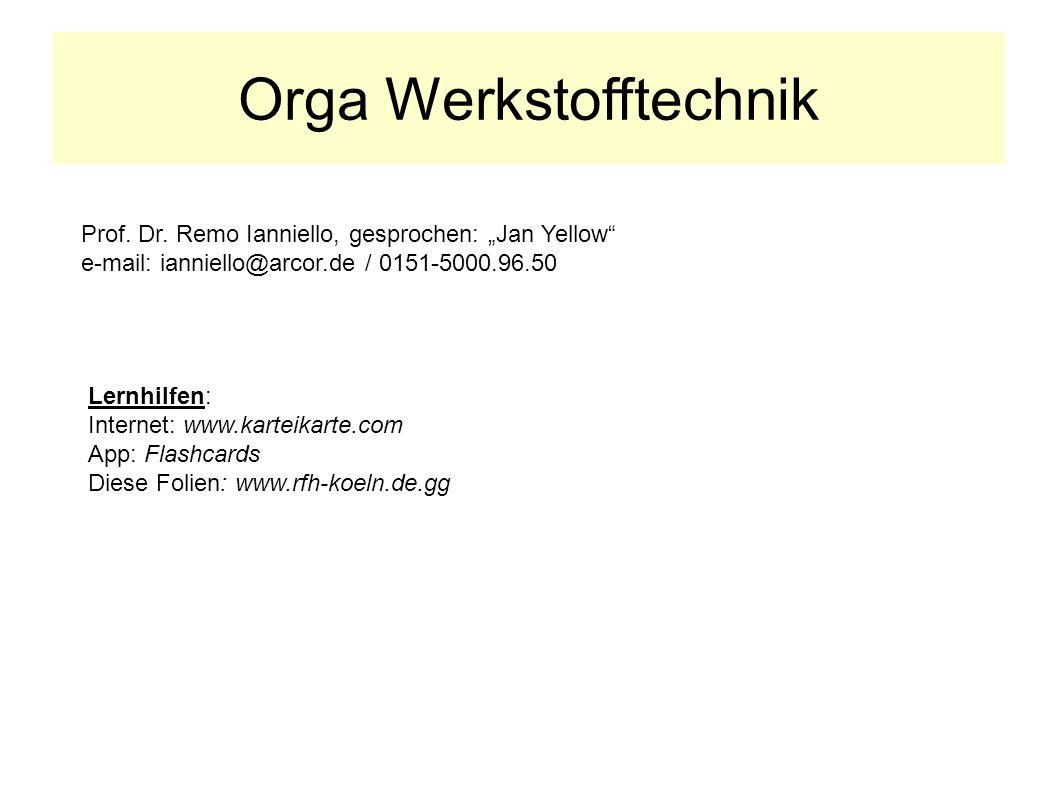 Orga Werkstofftechnik Lernhilfen: Internet: www.karteikarte.com App: Flashcards Diese Folien: www.rfh-koeln.de.gg Prof. Dr. Remo Ianniello, gesprochen