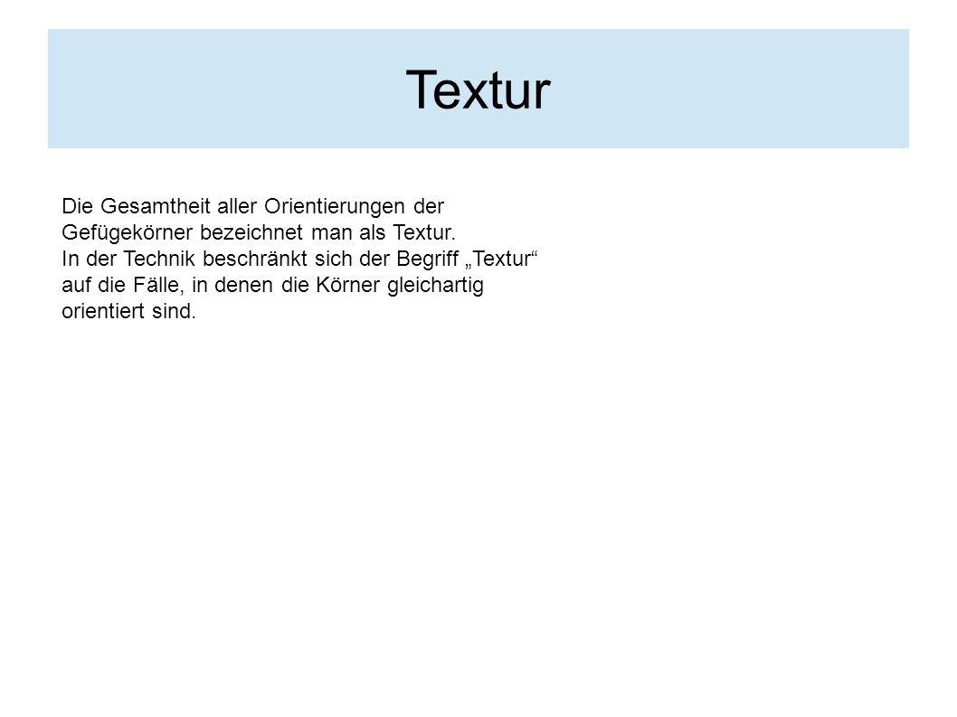 """Textur Die Gesamtheit aller Orientierungen der Gefügekörner bezeichnet man als Textur. In der Technik beschränkt sich der Begriff """"Textur"""" auf die Fäl"""