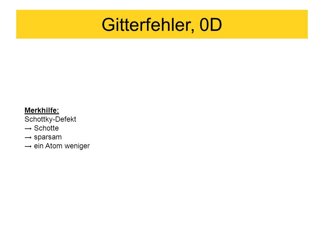 Gitterfehler, 0D Merkhilfe: Schottky-Defekt → Schotte → sparsam → ein Atom weniger