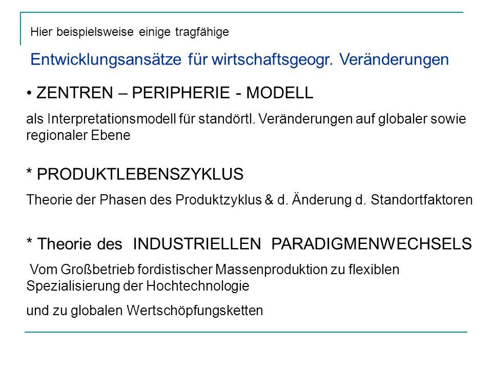 Hier beispielsweise einige tragfähige Entwicklungsansätze für wirtschaftsgeogr. Veränderungen ZENTREN – PERIPHERIE - MODELL als Interpretationsmodell
