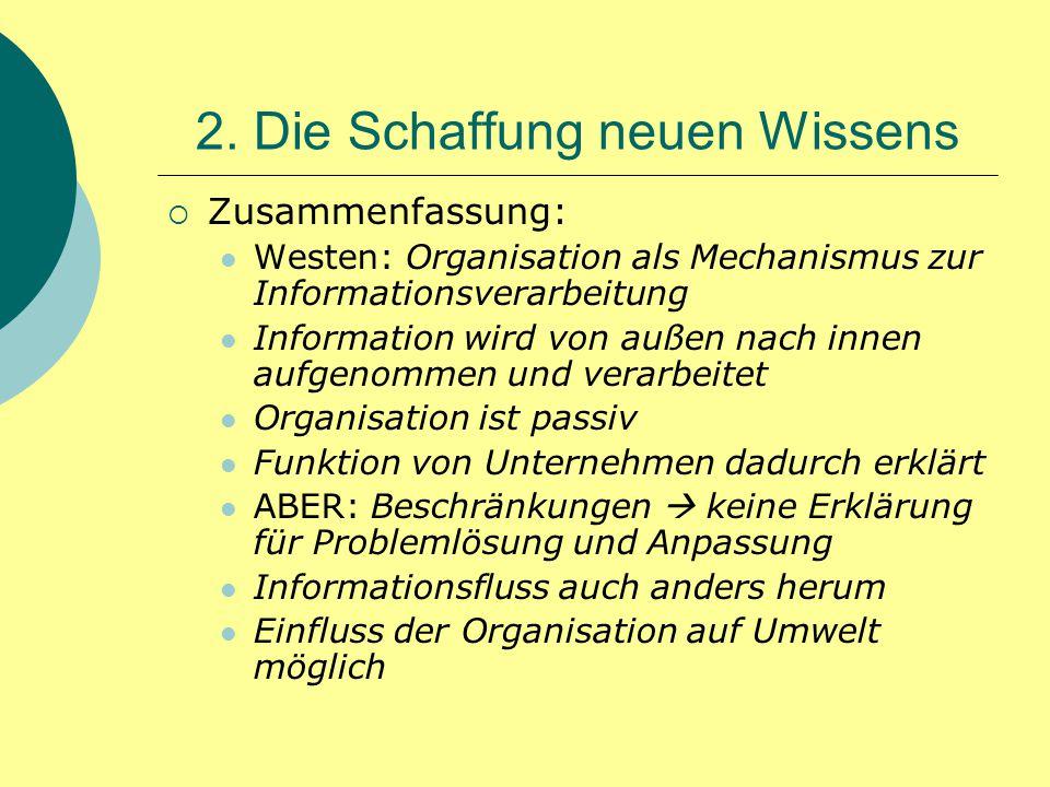 2. Die Schaffung neuen Wissens  Zusammenfassung: Westen: Organisation als Mechanismus zur Informationsverarbeitung Information wird von außen nach in