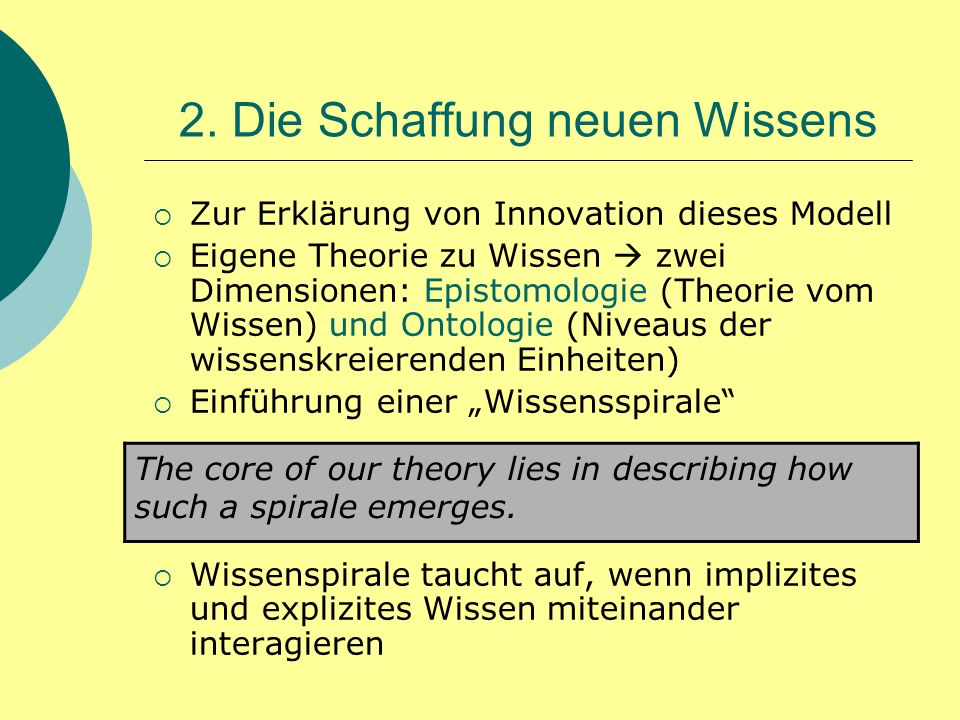 2. Die Schaffung neuen Wissens  Zur Erklärung von Innovation dieses Modell  Eigene Theorie zu Wissen  zwei Dimensionen: Epistomologie (Theorie vom