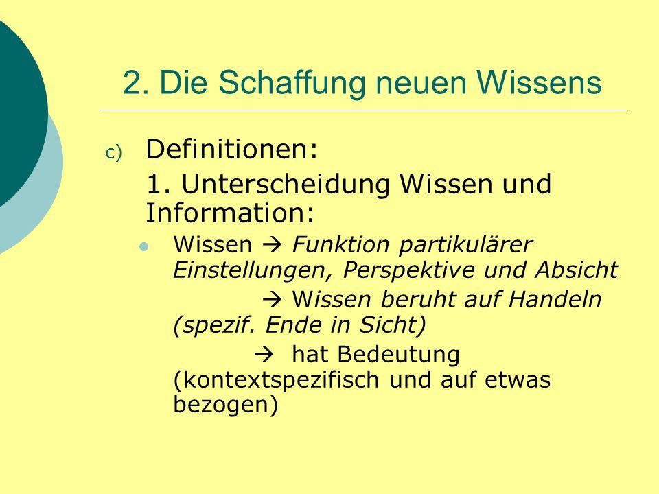 2. Die Schaffung neuen Wissens c) Definitionen: 1. Unterscheidung Wissen und Information: Wissen  Funktion partikulärer Einstellungen, Perspektive un