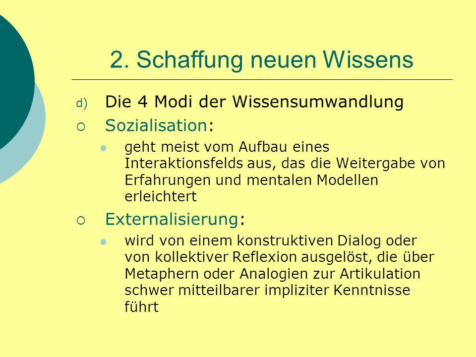 2. Schaffung neuen Wissens d) Die 4 Modi der Wissensumwandlung  Sozialisation: geht meist vom Aufbau eines Interaktionsfelds aus, das die Weitergabe