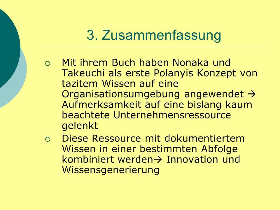 3. Zusammenfassung  Mit ihrem Buch haben Nonaka und Takeuchi als erste Polanyis Konzept von tazitem Wissen auf eine Organisationsumgebung angewendet