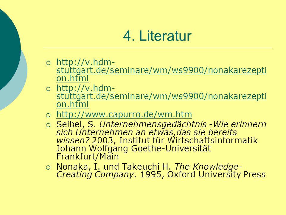 4. Literatur  http://v.hdm- stuttgart.de/seminare/wm/ws9900/nonakarezepti on.html http://v.hdm- stuttgart.de/seminare/wm/ws9900/nonakarezepti on.html