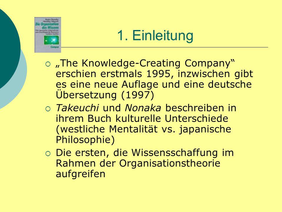 """1. Einleitung  """"The Knowledge-Creating Company"""" erschien erstmals 1995, inzwischen gibt es eine neue Auflage und eine deutsche Übersetzung (1997)  T"""