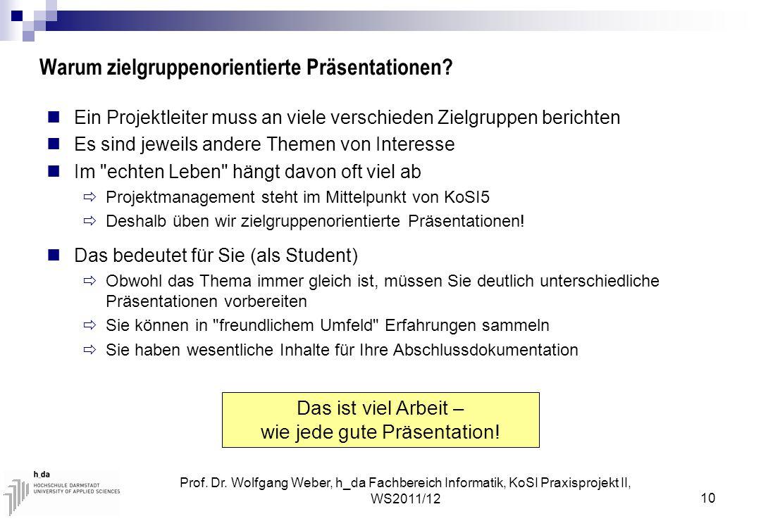 Prof. Dr. Wolfgang Weber, h_da Fachbereich Informatik, KoSI Praxisprojekt II, WS2011/12 10 Warum zielgruppenorientierte Präsentationen? Ein Projektlei