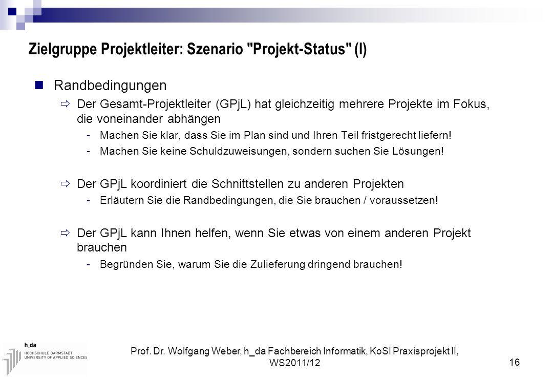Prof. Dr. Wolfgang Weber, h_da Fachbereich Informatik, KoSI Praxisprojekt II, WS2011/12 16 Zielgruppe Projektleiter: Szenario
