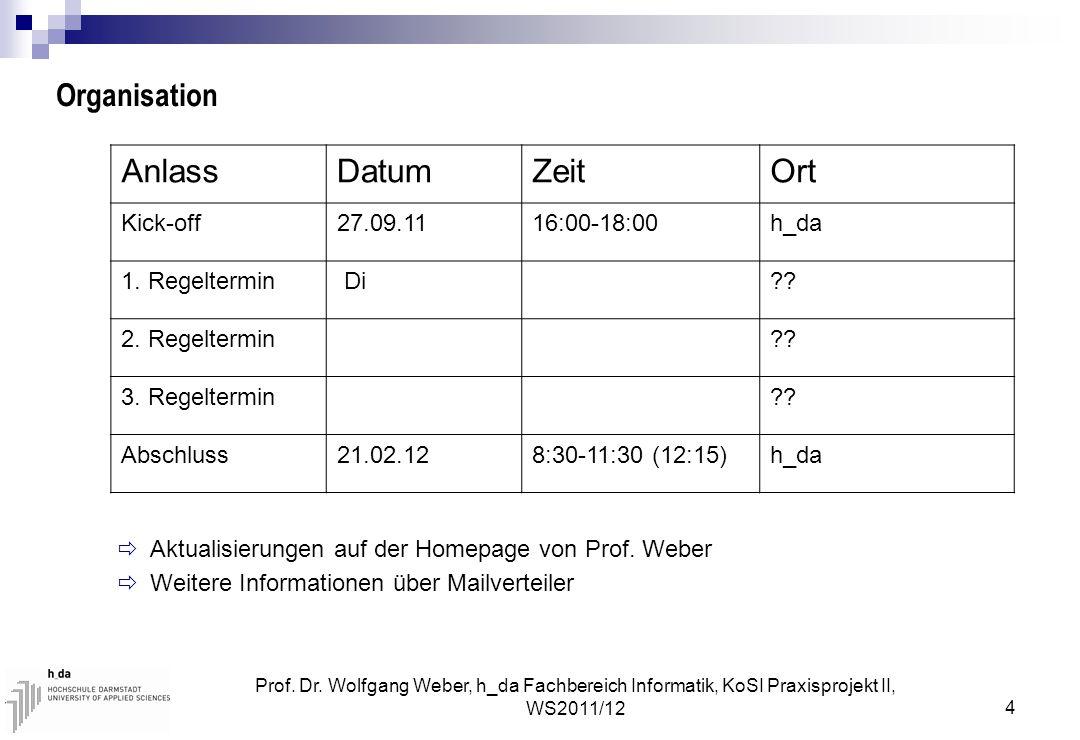 Prof. Dr. Wolfgang Weber, h_da Fachbereich Informatik, KoSI Praxisprojekt II, WS2011/12 4 Organisation  Aktualisierungen auf der Homepage von Prof. W