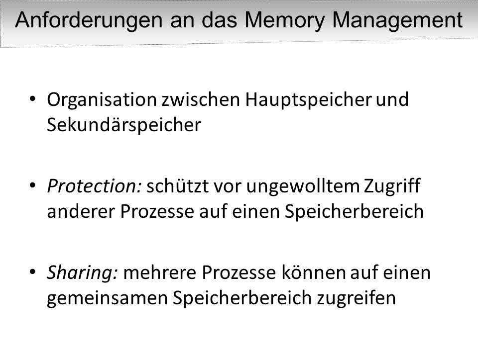 Organisation zwischen Hauptspeicher und Sekundärspeicher Protection: schützt vor ungewolltem Zugriff anderer Prozesse auf einen Speicherbereich Sharin