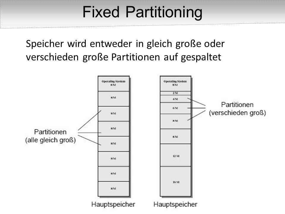 Partitionen sind variabel – in Bezug auf Größe und Anzahl Dynamic Partitioning